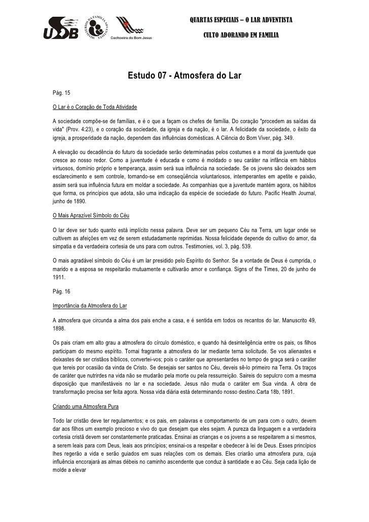 QUARTAS ESPECIAIS – O LAR ADVENTISTA                                                                  CULTO ADORANDO EM FA...