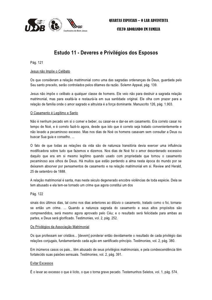 QUARTAS ESPECIAIS – O LAR ADVENTISTA                                                            CULTO ADORANDO EM FAMILIA ...