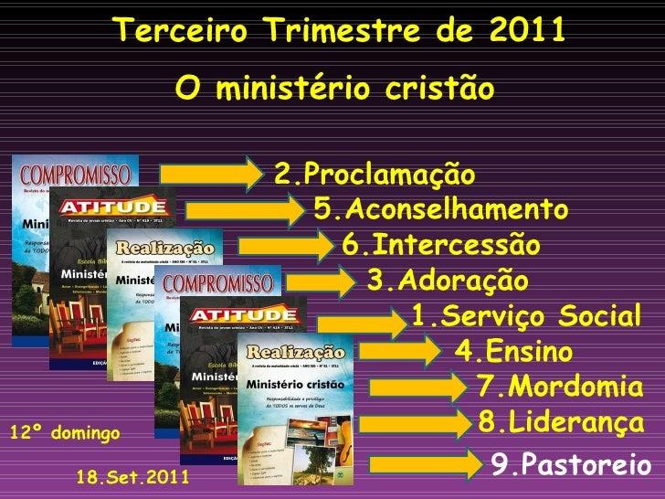 Terceiro Trimestre de 2011 O ministério cristão   2.Proclamação   5.Aconselhamento   6.Intercessão   3.Adoração   1.Serviç...