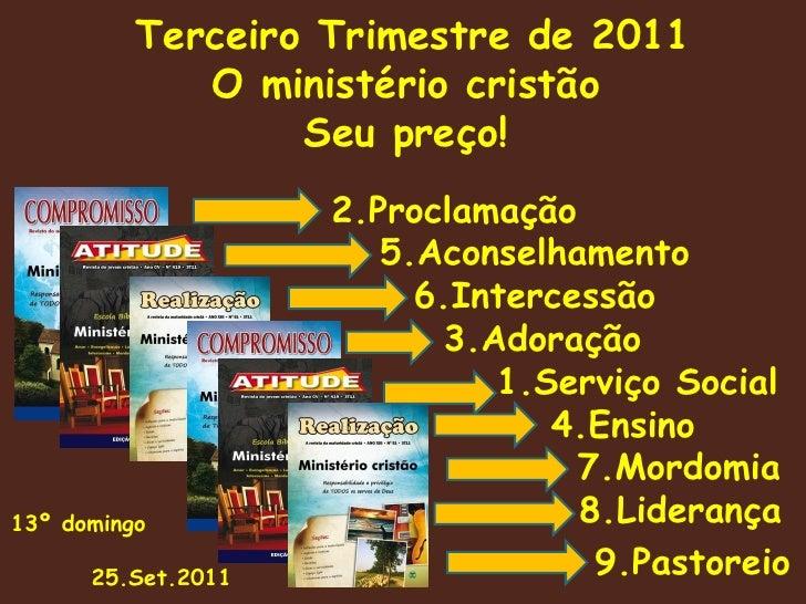 Terceiro Trimestre de 2011 O ministério cristão Seu preço!   2.Proclamação   5.Aconselhamento   6.Intercessão   3.Adoração...