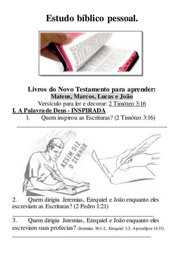 Estudo bíblico pessoal. Livros do Novo Testamento para aprender: Mateus, Marcos, Lucas e João Versículo para ler e decorar...