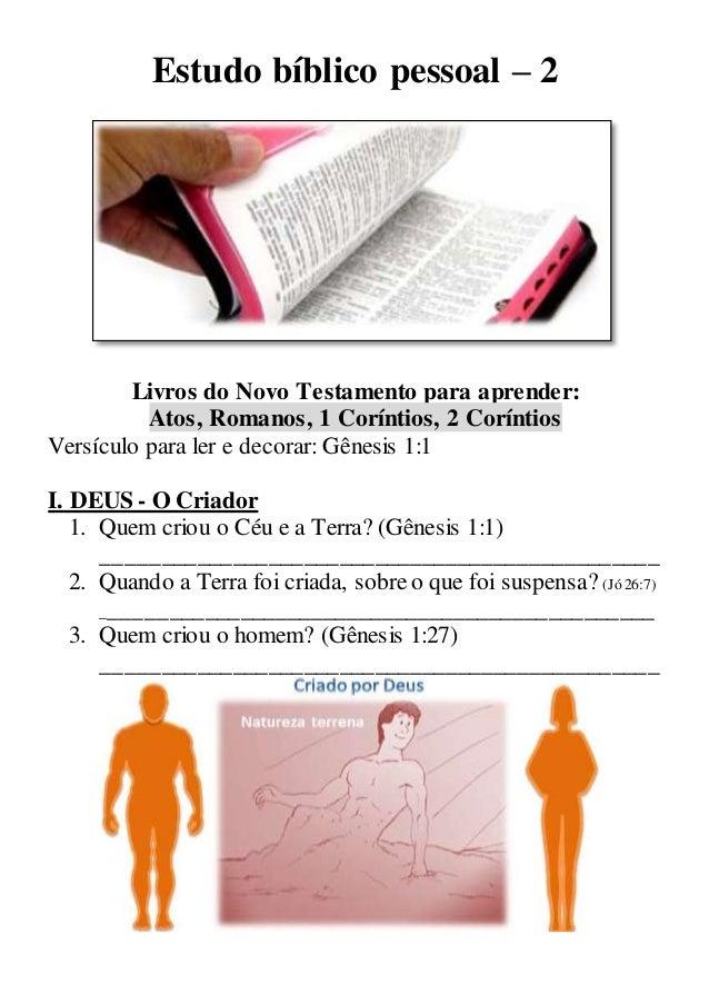 Estudo bíblico pessoal – 2 Livros do Novo Testamento para aprender: Atos, Romanos, 1 Coríntios, 2 Coríntios Versículo para...