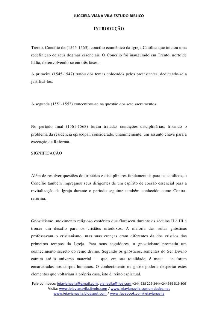 JUCCIEIA-VIANA VILA ESTUDO BÍBLICO                                    INTRODUÇÃOTrento, Concílio de (1545-1563), concílio ...