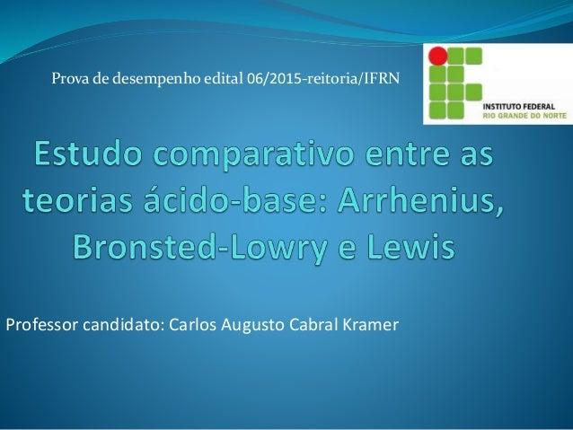 Prova de desempenho edital 06/2015-reitoria/IFRN Professor candidato: Carlos Augusto Cabral Kramer