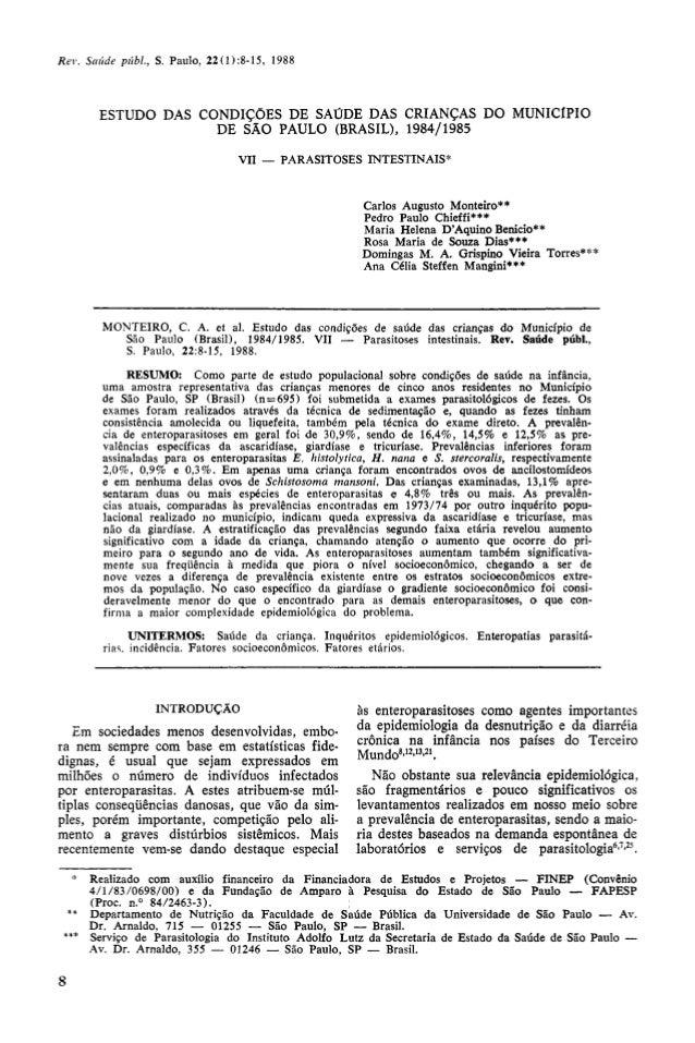ESTUDO DAS CONDIÇÕES DE SAÚDE DAS CRIANÇAS DO MUNICÍPIO                   DE SÃO PAULO (BRASIL), 1984/1985                ...