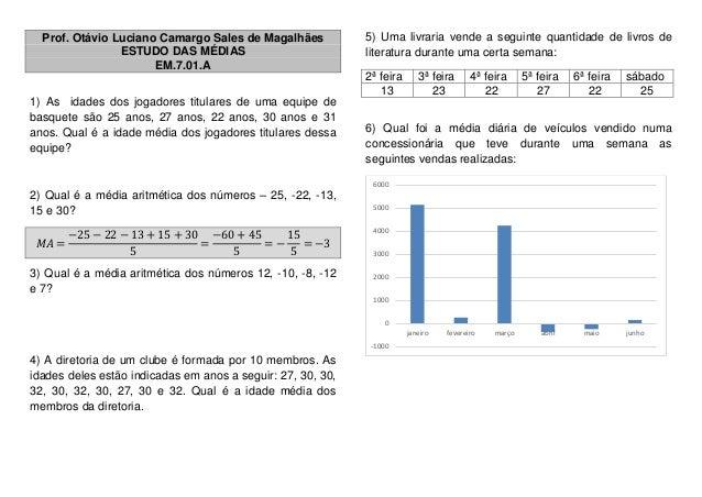 Prof. Otávio Luciano Camargo Sales de Magalhães ESTUDO DAS MÉDIAS EM.7.01.A 1) As idades dos jogadores titulares de uma eq...