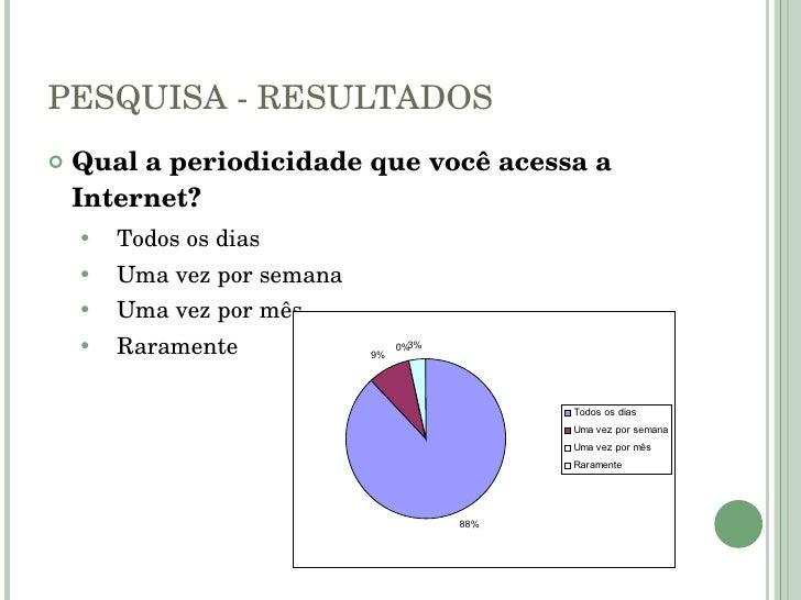 PESQUISA - RESULTADOS <ul><li>Qual a periodicidade que você acessa a Internet? </li></ul><ul><ul><li>Todos os dias </li></...