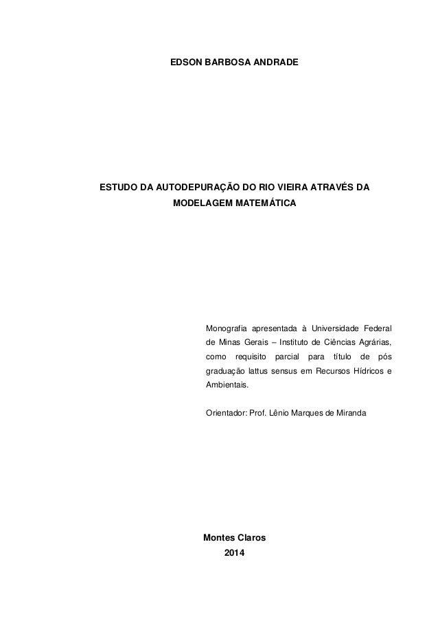 EDSON BARBOSA ANDRADE ESTUDO DA AUTODEPURAÇÃO DO RIO VIEIRA ATRAVÉS DA MODELAGEM MATEMÁTICA Monografia apresentada à Unive...