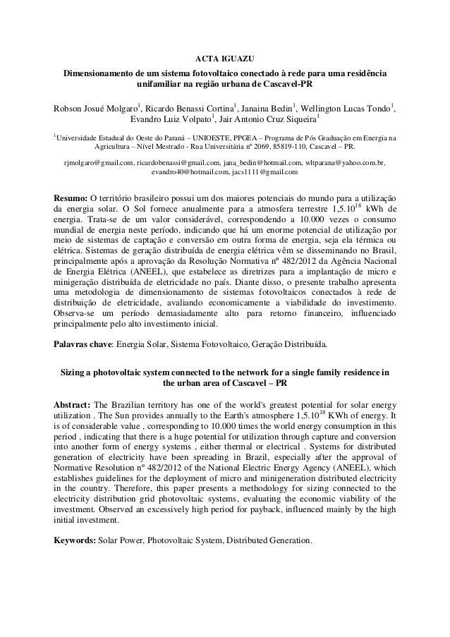 ACTA IGUAZU Dimensionamento de um sistema fotovoltaico conectado à rede para uma residência unifamiliar na região urbana d...