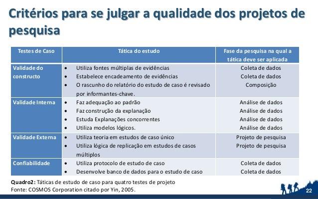 Critérios para se julgar a qualidade dos projetos de pesquisa 22 Testes de Caso Tática do estudo Fase da pesquisa na qual ...