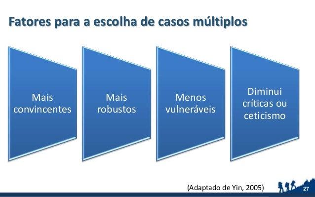 Fatores para a escolha de casos múltiplos 27 Mais convincentes Mais robustos Menos vulneráveis Diminui críticas ou ceticis...