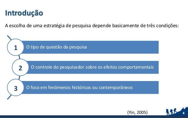 Introdução A escolha de uma estratégia de pesquisa depende basicamente de três condições: 4(Yin, 2005) 4 O tipo de questão...