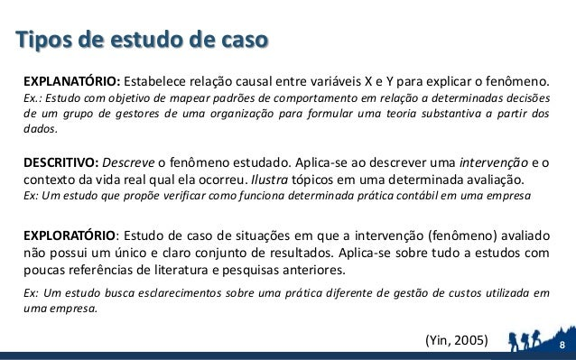 Tipos de estudo de caso 8 EXPLANATÓRIO: Estabelece relação causal entre variáveis X e Y para explicar o fenômeno. Ex.: Est...