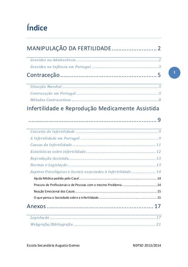 Escola Secundária Augusto Gomes NEPSO 2013/2014 1 Índice MANIPULAÇÃO DA FERTILIDADE........................... 2 Gravidez ...