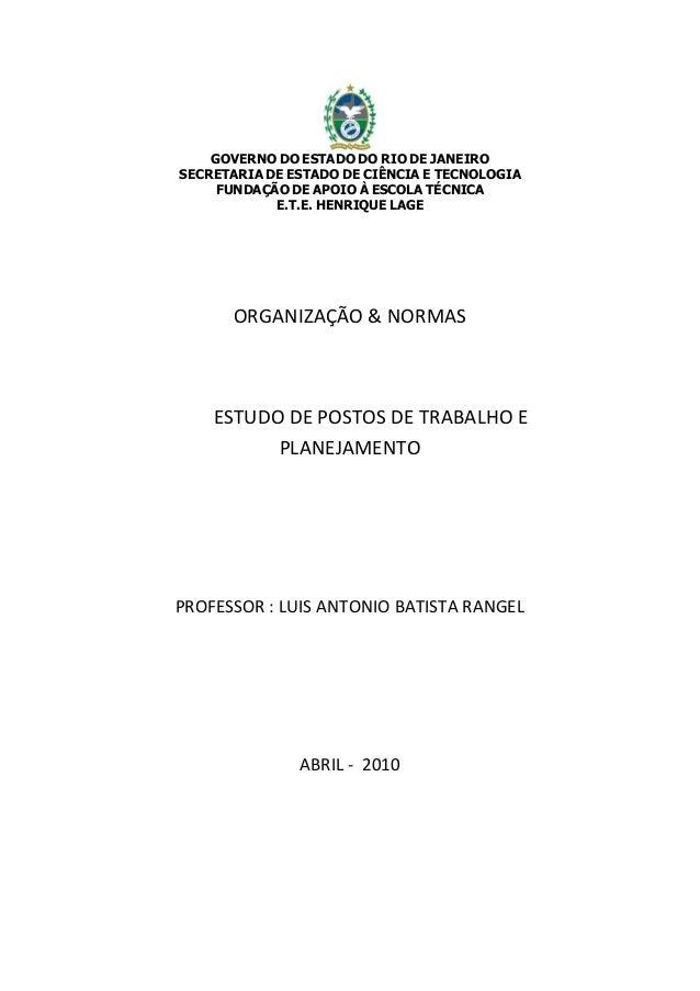 GOVERNO DO ESTADO DO RIO DE JANEIRO SECRETARIA DE ESTADO DE CIÊNCIA E TECNOLOGIA FUNDAÇÃO DE APOIO À ESCOLA TÉCNICA E.T.E....