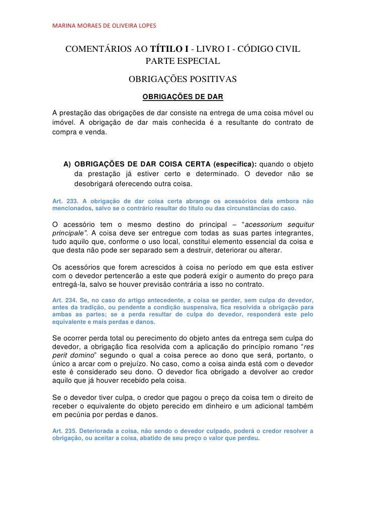 MARINA MORAES DE OLIVEIRA LOPES    COMENTÁRIOS AO TÍTILO I - LIVRO I - CÓDIGO CIVIL                  PARTE ESPECIAL       ...