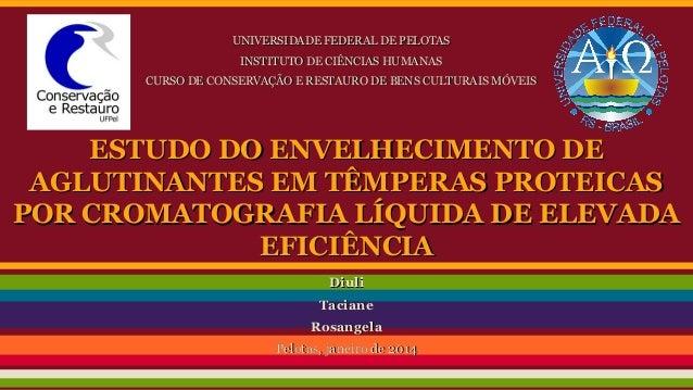 UNIVERSIDADE FEDERAL DE PELOTAS INSTITUTO DE CIÊNCIAS HUMANAS CURSO DE CONSERVAÇÃO E RESTAURO DE BENS CULTURAIS MÓVEIS  ES...