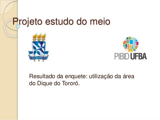 Projeto estudo do meio Resultado da enquete: utilização da área do Dique do Tororó.
