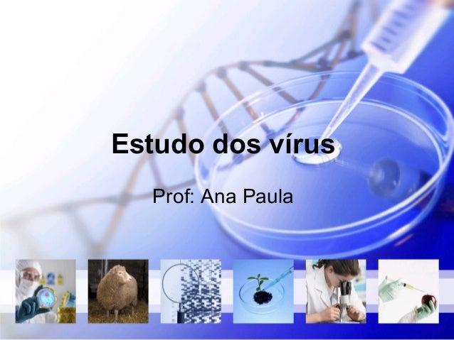 Estudo dos vírus  Prof: Ana Paula