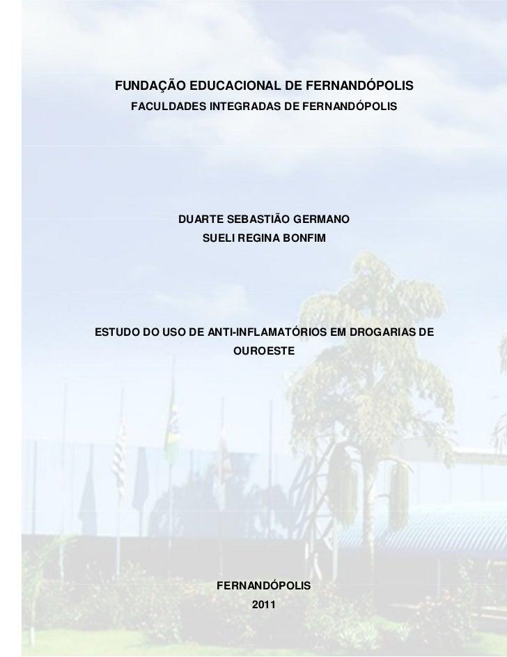 FUNDAÇÃO EDUCACIONAL DE FERNANDÓPOLIS     FACULDADES INTEGRADAS DE FERNANDÓPOLIS            DUARTE SEBASTIÃO GERMANO      ...