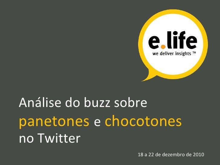 Análise do buzz sobre  panetones   e   chocotones no Twitter 18 a 22 de dezembro de 2010