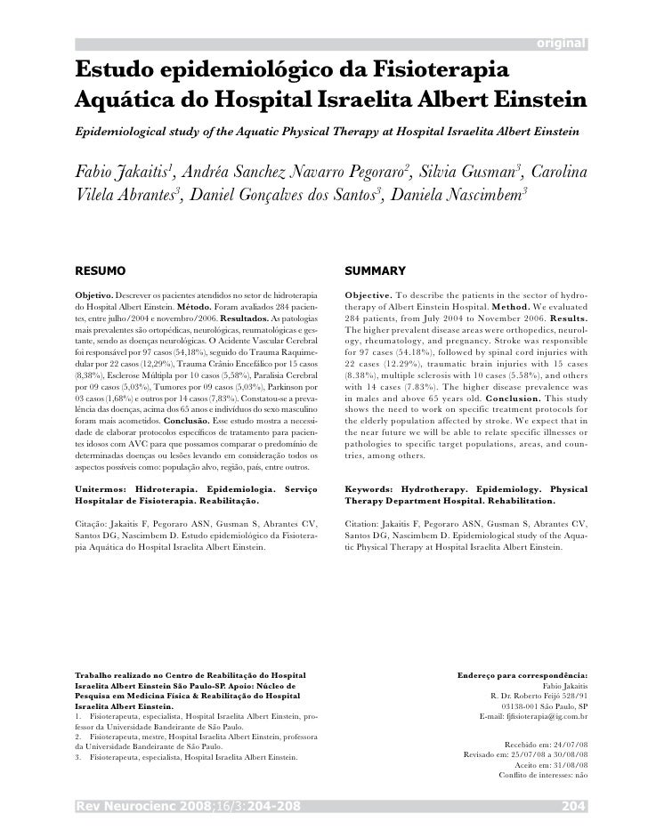 original  Estudo epidemiológico da Fisioterapia Aquática do Hospital Israelita Albert Einstein Epidemiological study of th...