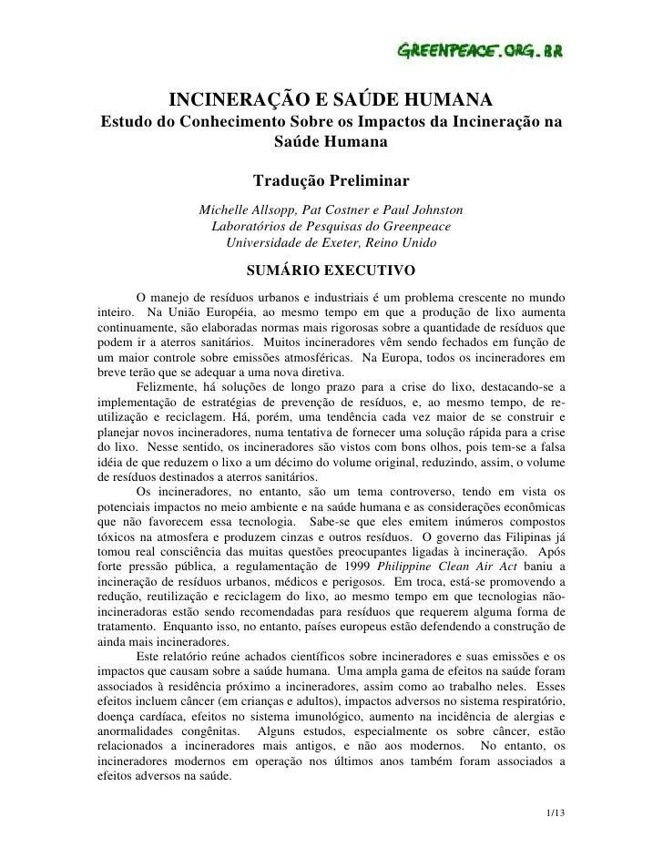 INCINERAÇÃO E SAÚDE HUMANA Estudo do Conhecimento Sobre os Impactos da Incineração na                     Saúde Humana    ...