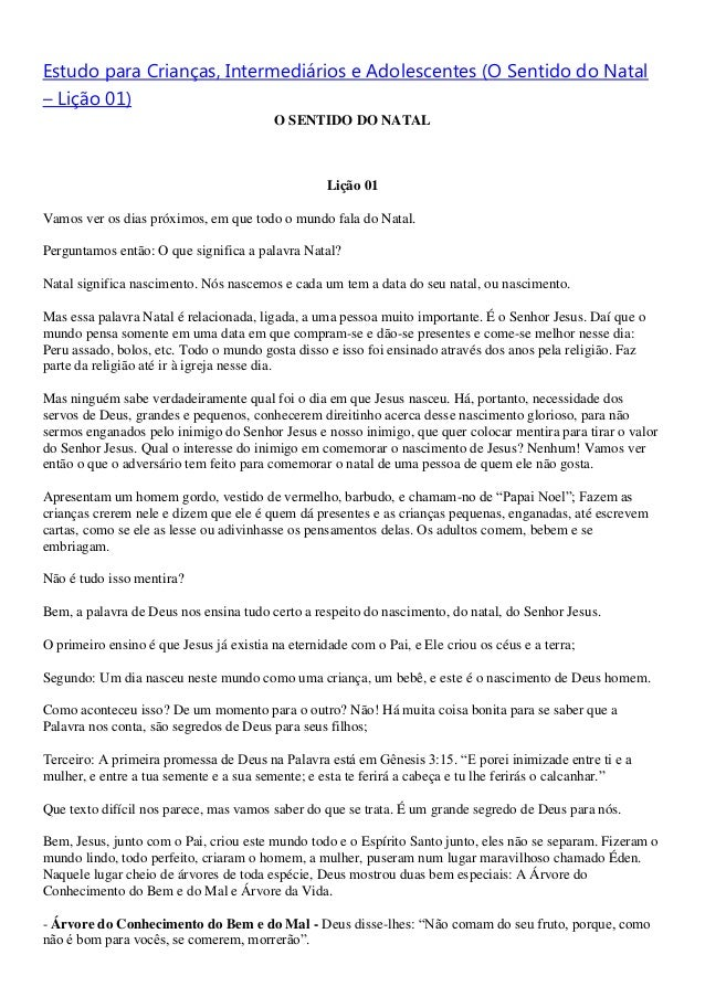 Estudo para Crianças, Intermediários e Adolescentes (O Sentido do Natal– Lição 01)                                        ...