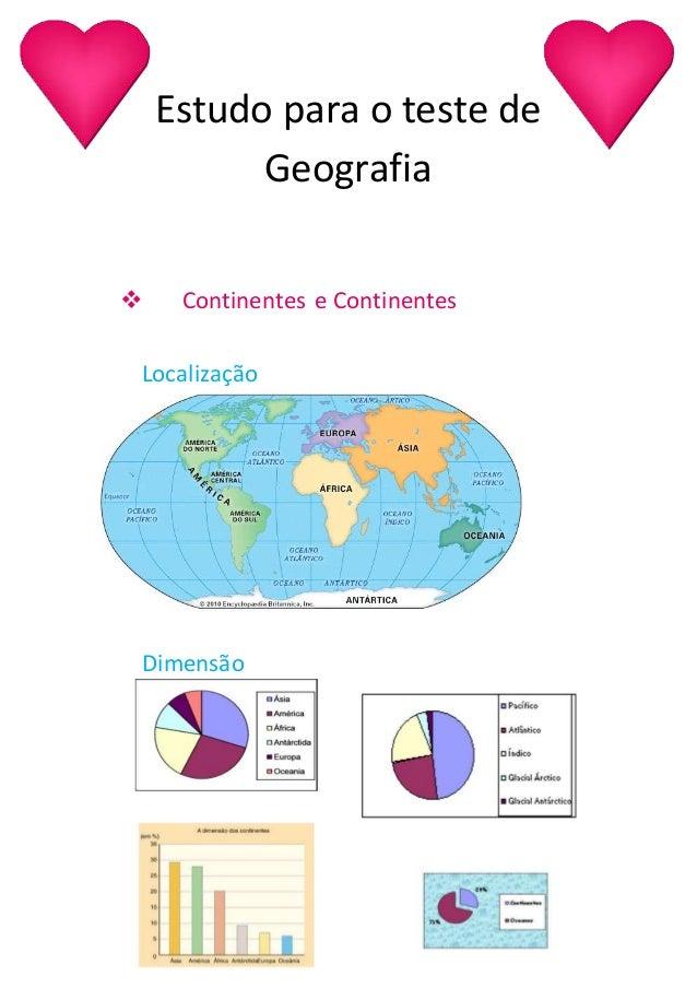 Estudo para o teste de Geografia  Continentes e Continentes Localização Dimensão