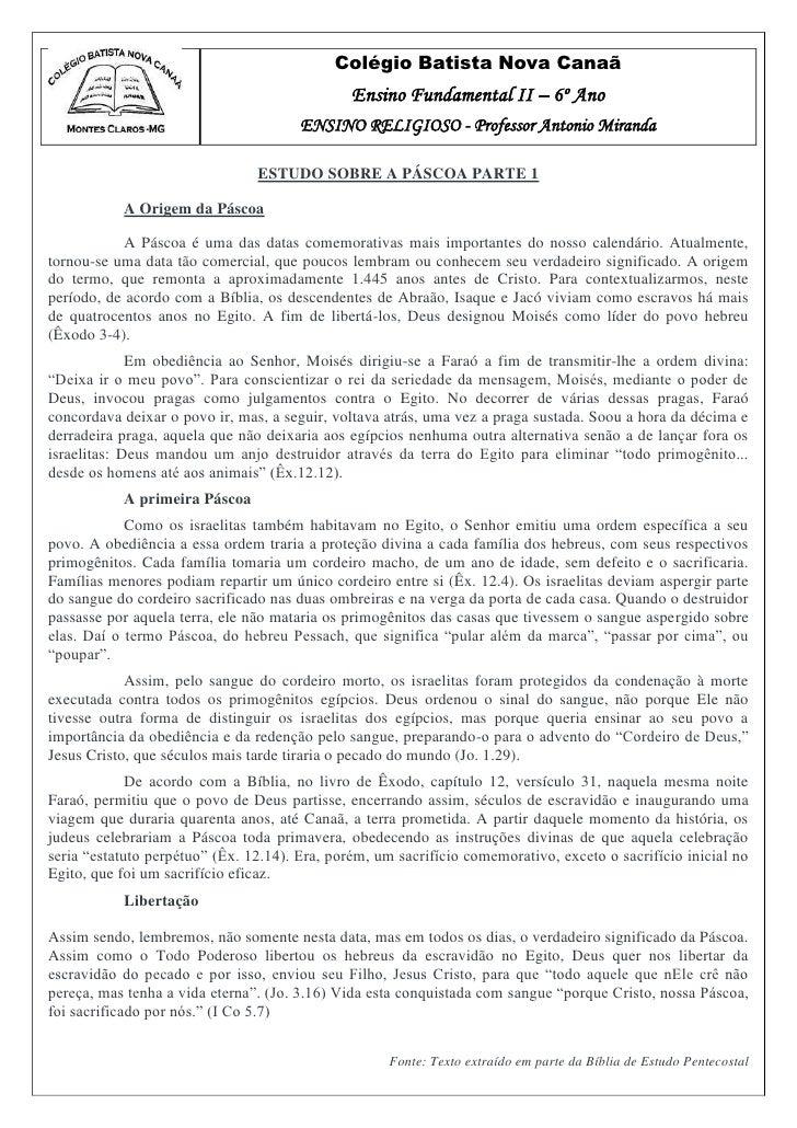 Colégio Batista Nova Canaã                                               Ensino Fundamental II – 6º Ano                   ...
