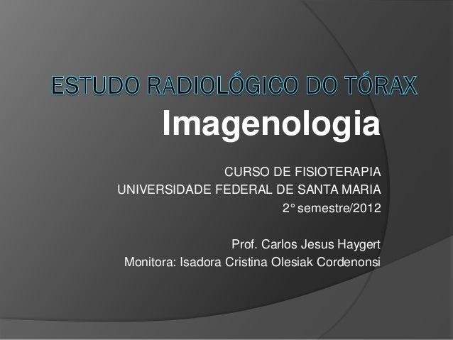 Imagenologia              CURSO DE FISIOTERAPIAUNIVERSIDADE FEDERAL DE SANTA MARIA                      2° semestre/2012  ...