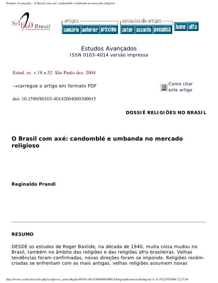 Estudos Avançados - O Brasil com axé: candomblé e umbanda no mercado religioso                                            ...