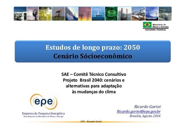 Estudos de longo prazo: 2050  Cenário Sócioeconômico  EPE - Ricardo Gorini  Empresa de Pesquisa Energética  Uma Empresa do...