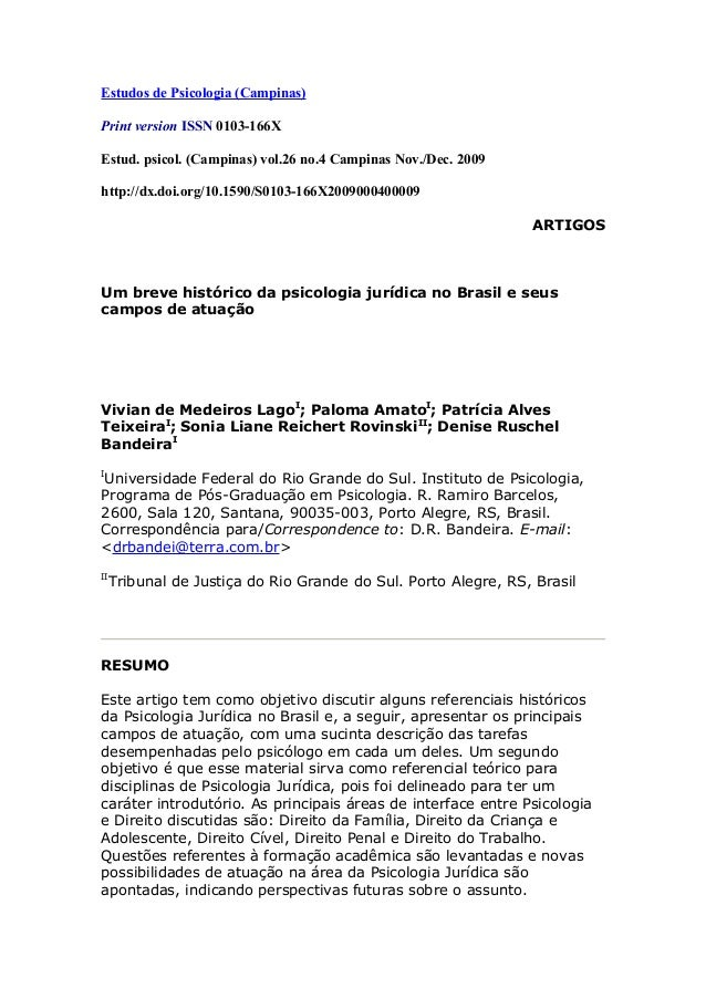 Estudos de Psicologia (Campinas)Print version ISSN 0103-166XEstud. psicol. (Campinas) vol.26 no.4 Campinas Nov./Dec. 2009h...