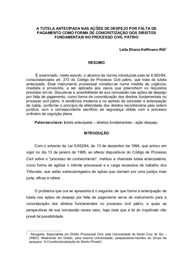 A TUTELA ANTECIPADA NAS AÇÕES DE DESPEJO POR FALTA DE PAGAMENTO COMO FORMA DE CONCRETIZAÇÃO DOS DIREITOS FUNDAMENTAIS NO P...