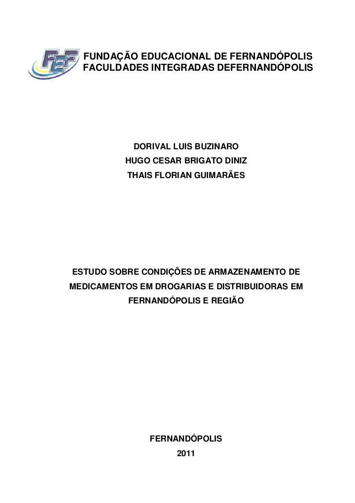 FUNDAÇÃO EDUCACIONAL DE FERNANDÓPOLIS  FACULDADES INTEGRADAS DEFERNANDÓPOLIS            DORIVAL LUIS BUZINARO          HUG...