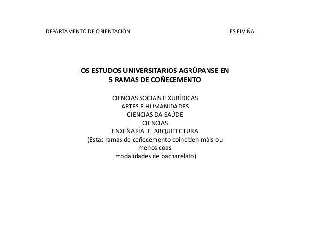 DEPARTAMENTO DE ORIENTACIÓN                                  IES ELVIÑA           OS ESTUDOS UNIVERSITARIOS AGRÚPANSE EN  ...