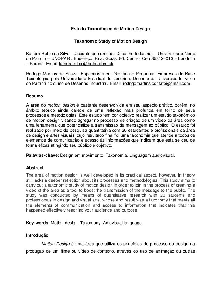 Estudo Taxonômico de Motion Design                         Taxonomic Study of Motion DesignKendra Rubio da Silva. Discente...