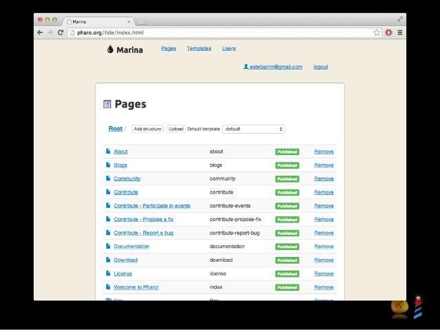 Install Tide Pre-requisites: node, npm, bower, pharo $ git clone git@github.com:tide-framework/tide.git $ cd tide && bower...