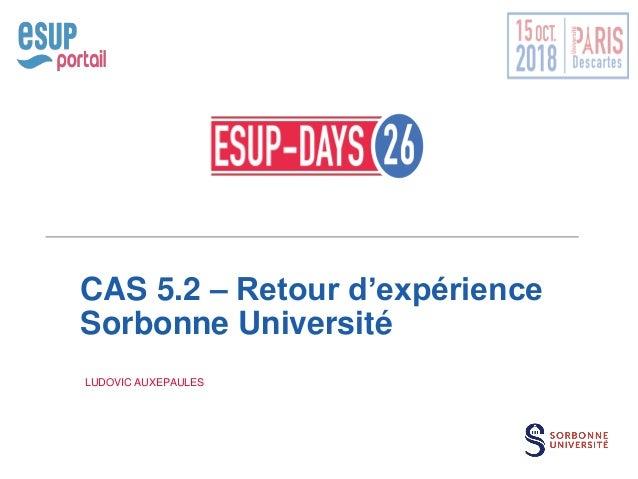 CAS 5.2 – Retour d'expérience Sorbonne Université LUDOVIC AUXEPAULES