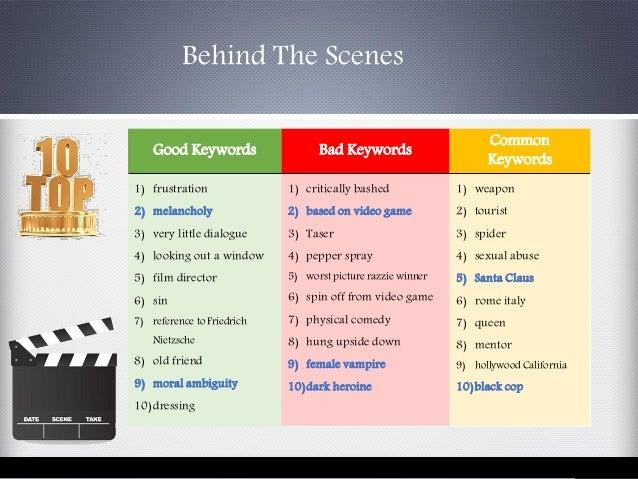 Behind The Scenes Good Keywords Bad Keywords Common Keywords 1) frustration 2) melancholy 3) very little dialogue 4) looki...