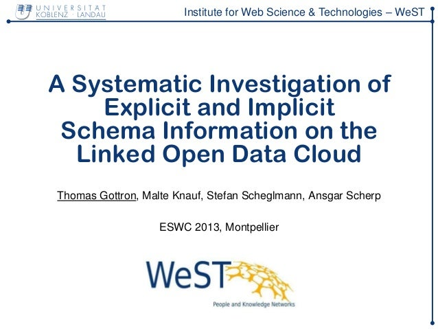 Institute for Web Science & Technologies – WeSTA Systematic Investigation ofExplicit and ImplicitSchema Information on the...