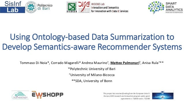 Using Ontology-based Data Summarization to Develop Semantics-aware Recommender Systems Tommaso Di Noia*, Corrado Magarelli...