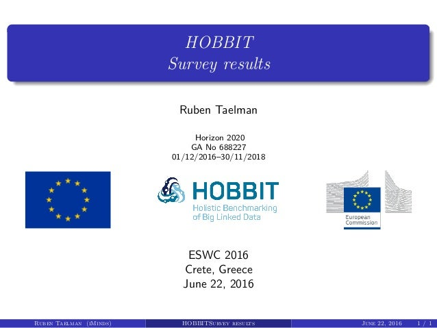 HOBBIT Survey results Ruben Taelman Horizon 2020 GA No 688227 01/12/2016–30/11/2018 ESWC 2016 Crete, Greece June 22, 2016 ...