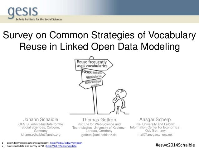 Survey on Common Strategies of Vocabulary Reuse in Linked Open Data Modeling Johann Schaible GESIS Leibniz-Institute for t...