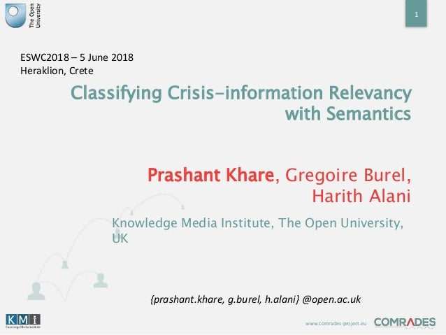 www.comrades-project.eu Classifying Crisis-information Relevancy with Semantics Prashant Khare, Gregoire Burel, Harith Ala...