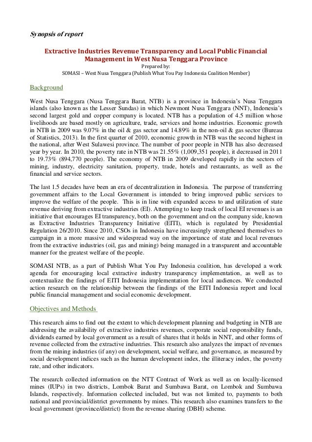 Synopsis of report Extractive Industries Revenue Transparency and Local Public Financial Management in West Nusa Tenggara ...
