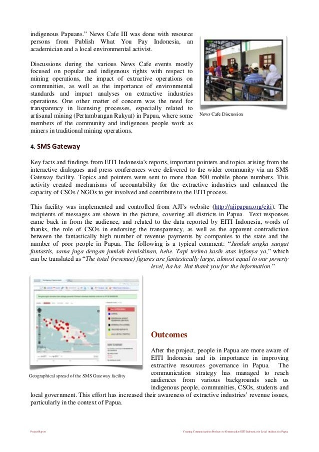 Project Report Creating Communications Products to Contextualize EITI Indonesia for Local Audience in Papua indigenous Pap...