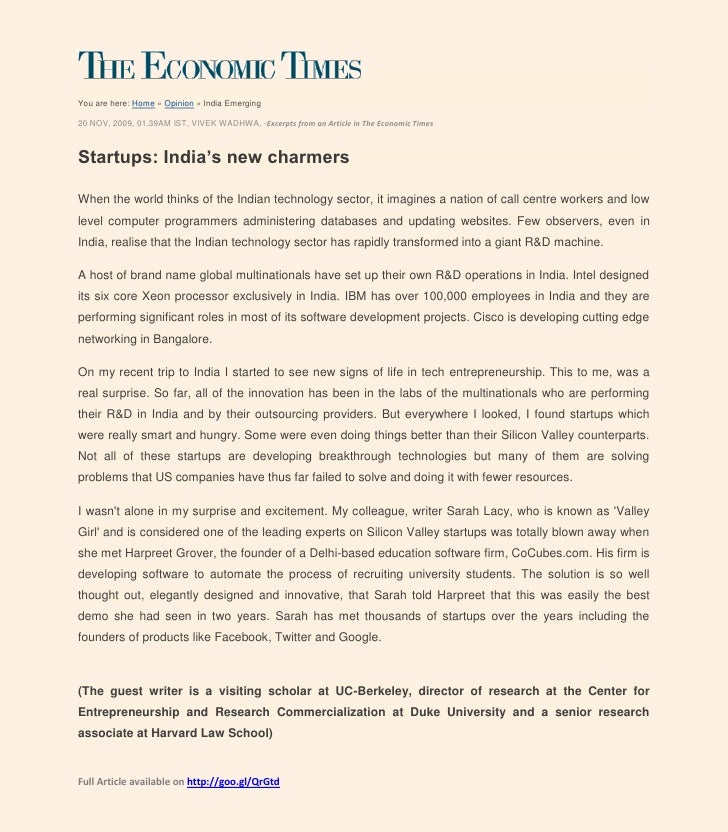 You are here: Home » Opinion » India Emerging20 NOV, 2009, 01.39AM IST, VIVEK WADHWA, -Excerpts from an Article in The Eco...