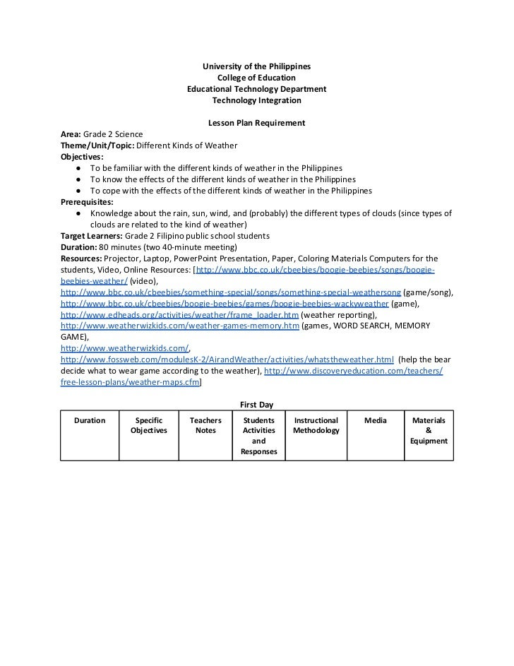 weather lesson plans for first grade